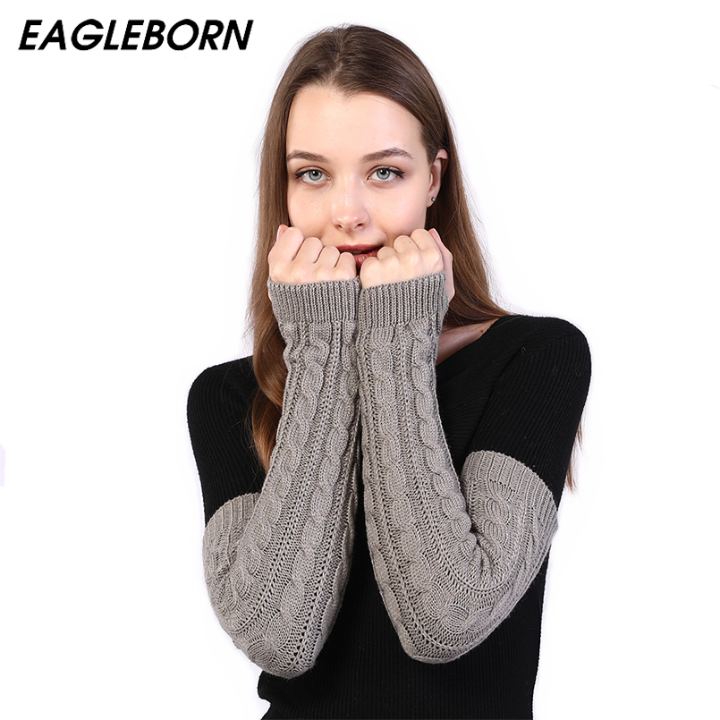 New Women Arm Warmers Winter Black Gray Lengthen Arm Gloves Knitting Sleeve For Women Twist Arm Warmers Gloves Winter Sleeve