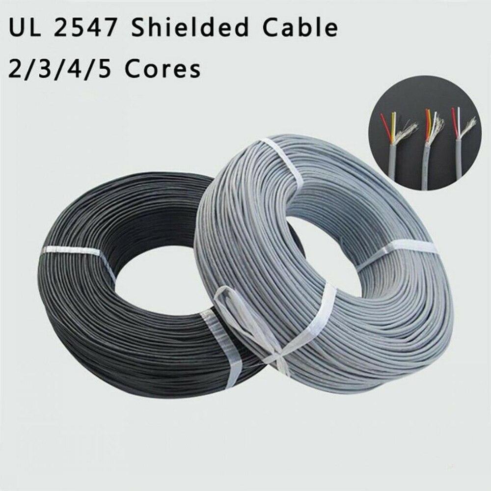 UL2547 многожильный экранированный провод ПВХ кабель управления 2 ядра 3 ядра 4 ядра 5 ядра Чистая медь аудио кабель для наушников сигнальная ли...