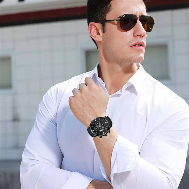 Simple Sport Stainless Steel Case Leather Band Watch 2