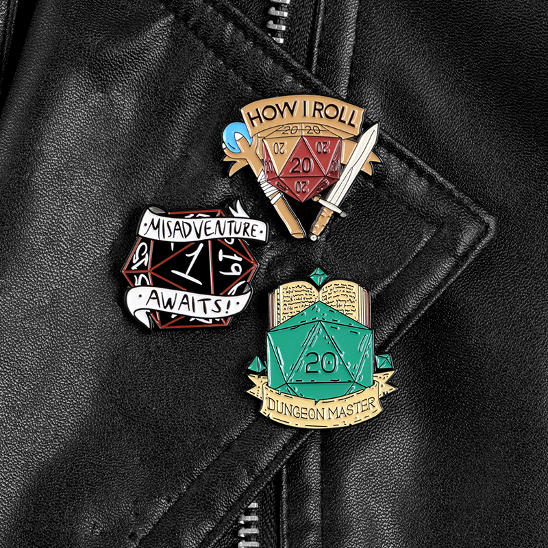 HOW I ROLL Dice pin Role playing game Enamel Pin Brooch Backpack hat Jackets Lapel pin badge Jewelry Gift for Game lovers