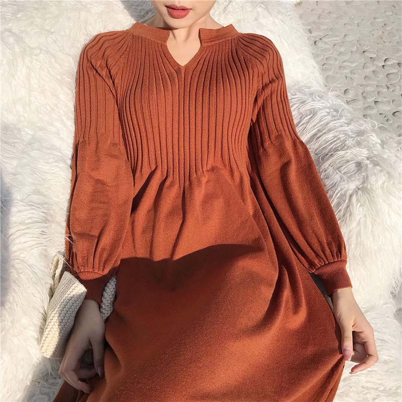 Fall Winter Retro French Girl Knitted Loose Dress Lantern Sleeve Casual Maxi Long Solid Female Plus Size Basic