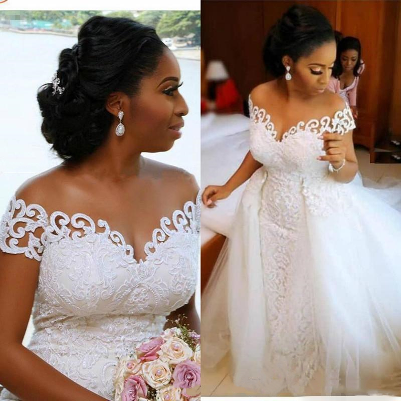New Fashion African Wedding Dresses Mermaid 2020 Vestido De Novia Detachable Skirt Off The Shoulder Wedding Gowns Lace Dress