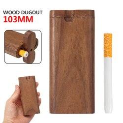 1 pc tampa giratória de madeira dugout um hitter conjunto caixa de presente para fumantes 103mm tubo de cigarro accessorie conveniente usar