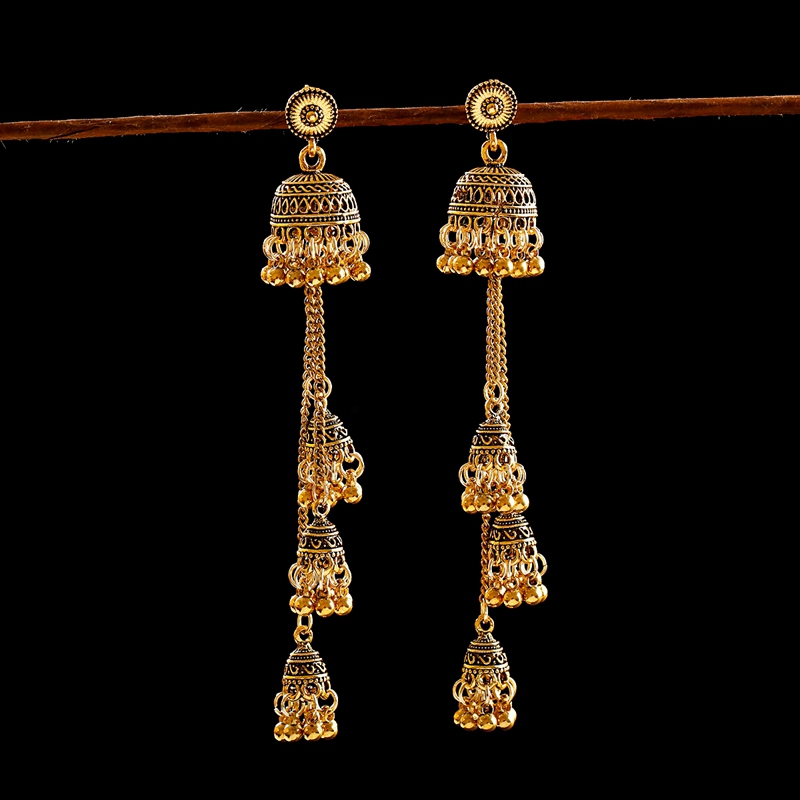 H945f91c678fb4e9a9451707602ddaaa3o - Ethnic Gold Afghan Long Tassel Bead Drop Earrinngs Bollywood Jewellery Bell Jhumka Indian Earrings Wedding Jewelry