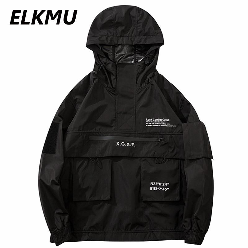ELKMU Men Hip Hop Streetwear Jacket Coat Black Windbreaker Waterproof Cargo Jacket Pullover Harajuku Hooded Track Jacket Outwear