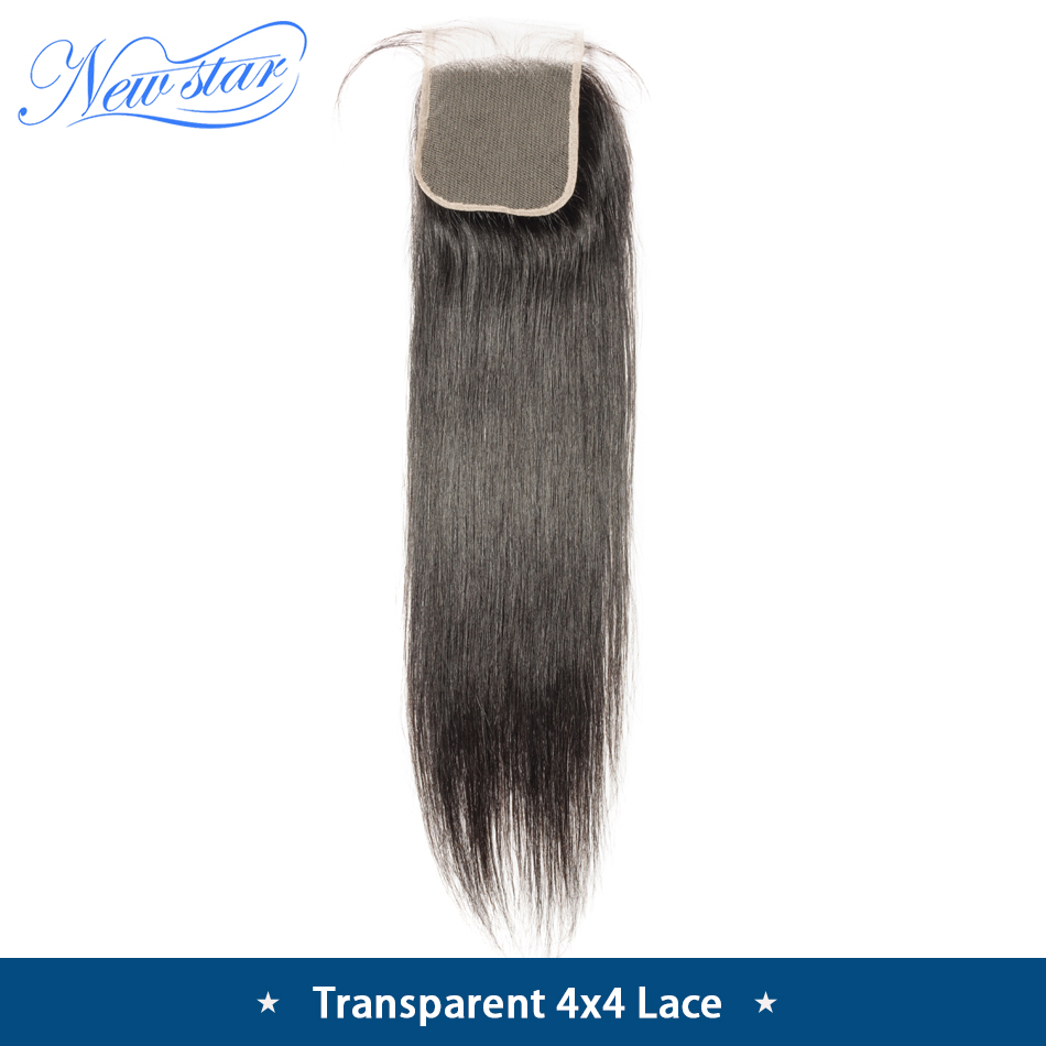 Brazilian TRANSPARENT Lace Closure Straight Hair 4 X4 Lace Free Part Closures New Star Human Hair