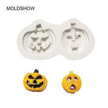 цена на 3D Halloween Series Pumpkin Shape Silicone Mold Fondant Chocolate Biscuit Tool DIY Baking Cake Tools mould