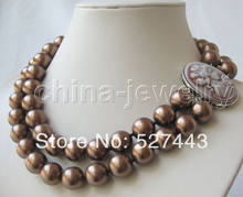 "Wholesale fast Beautiful 2row 17-18"" 12mm coffee south sea shell pearl necklace-cameo clasp NEW(China)"