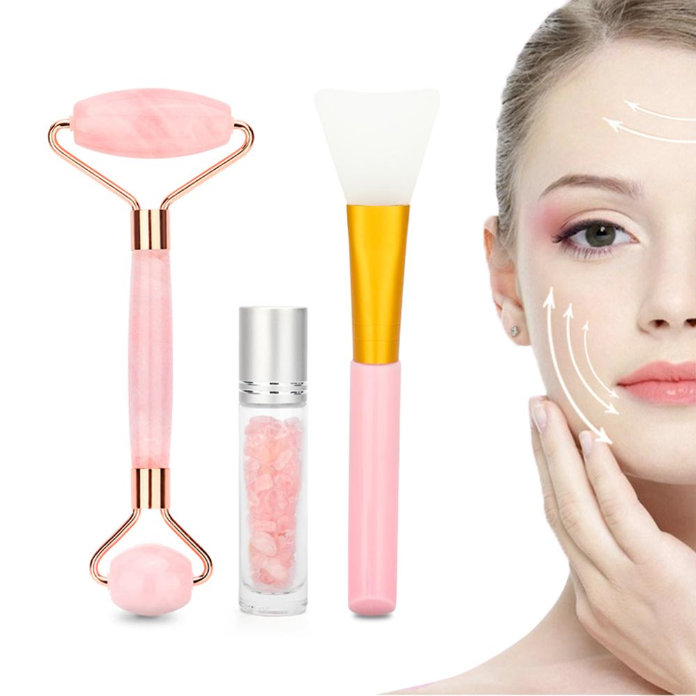 Natural Rose Quartz Facial Roller Jade Face Massager For Facial Lifting Wrinkle Remove Skin Tightening With Essential Oil Bottle
