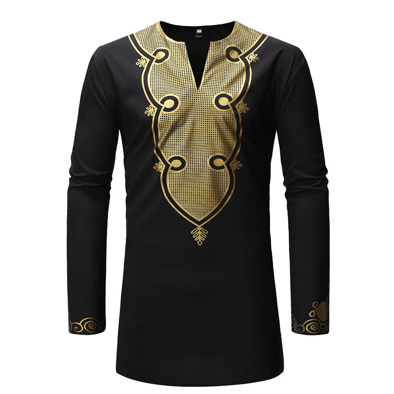 Muslim Clothes Arab Short Tunic Long Sleeve Shirt Men's Wear Gilding Wind European Style Male Printing Long T-Shirt Africa Dress