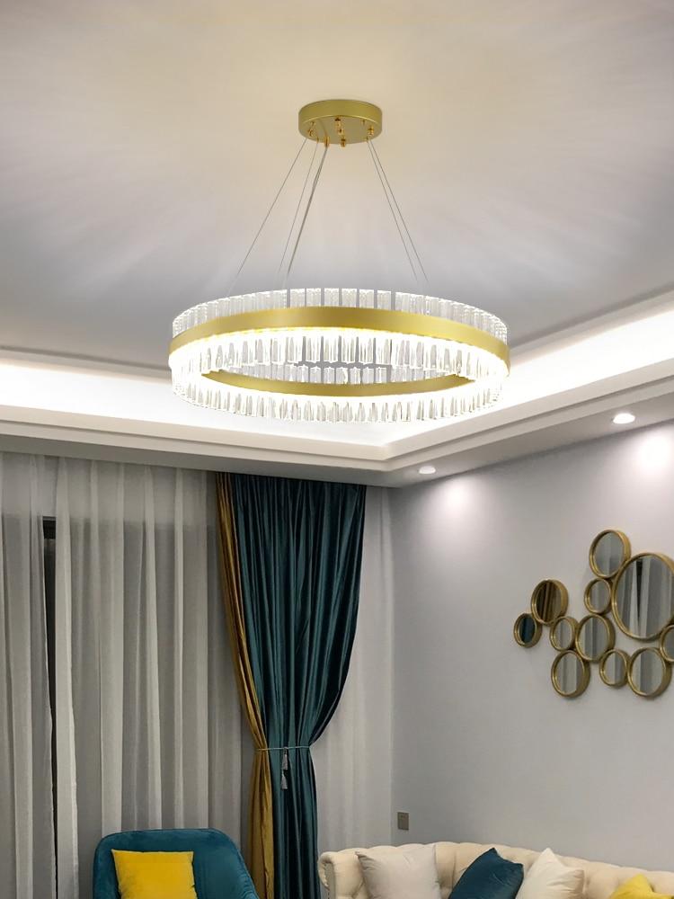 Современная дизайнерская люстра с круглым кристаллом, роскошная светодиодная люстра используется для украшения гостиной, спальни, отеля