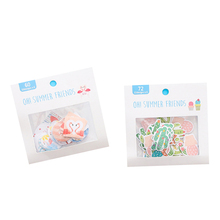 1pack/lot  lovely Cartoon Sticker Flamingo Cactus Cherry Blossom Stationery Stickers DIY Decorative Note Sealing