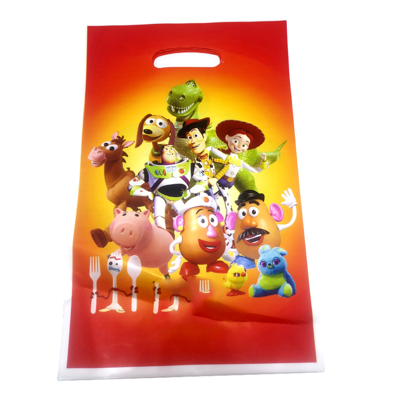 20pcs/lot Kids Boys Favors Toy Story Theme Happy Baby Shower Party Disposable Plastic Loot Bags Birthday Decorations Gifts Bags