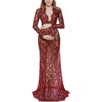 Maternity Dresses for Photo Shoot Long Sleeve Lace Breastfeeding Hamile Elbise Pregnant Robe Grossesse Photography Props S-XXXXL