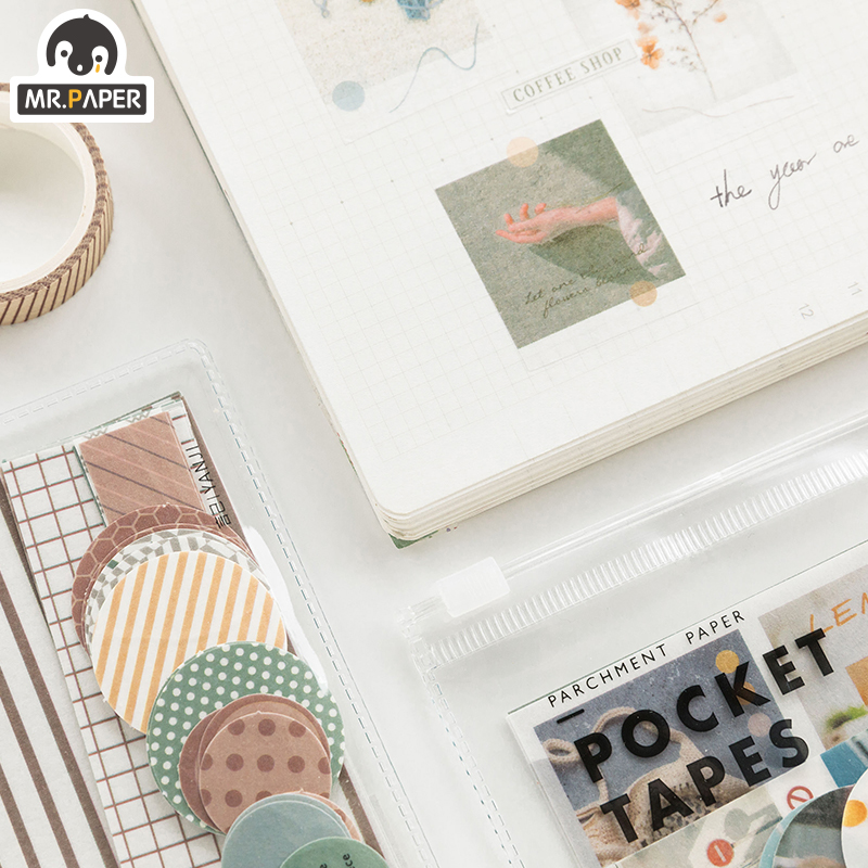 Mr.paper 4 Designs 40Pcs/lot Vintage Sights Simple Stripe Pocket Tape Deco Stickers Scrapbooking Bullet Journal Deco Stickers 3