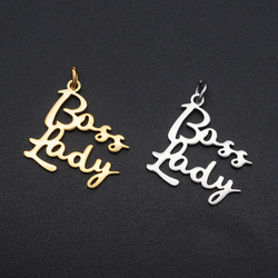 5pcs/lot Small Size Stainless Steel DIY Word Scrip Boss Lady Charms Wholesale OEM Charm Order Accepted Charm for Bracelet