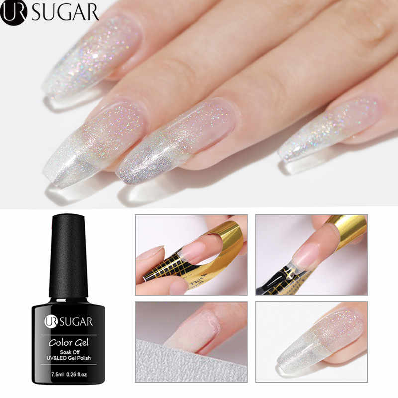 Ur Suiker 7.5 Ml Quick Extension Gel Holografische Glitter Acryl Poly Uv Gel Vinger Building Clear Soak Off Uv Gel nail Art
