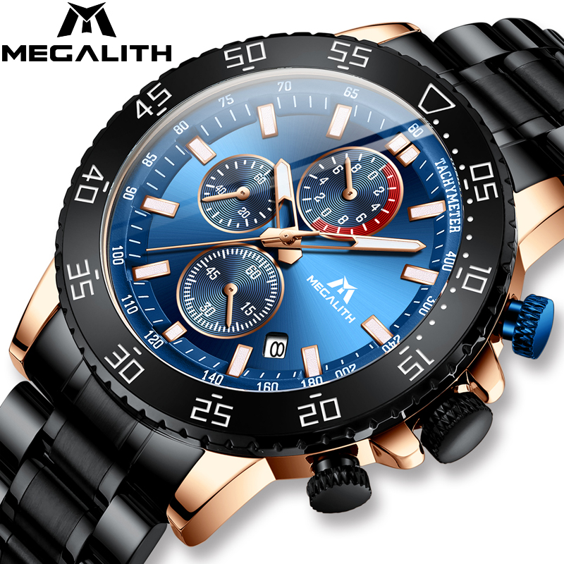 MEGALITH New Stainless Steel Watches Men Waterproof Luminous Quartz Wristwatch Chronograph Clock Male Fashion Sports Watch 8087