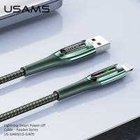 USAMS 2.4A 1.2m 2m cavo di spegnimento automatico intelligente per iPhone 12 11 Pro Max Xs X 8 Plus cavo di ricarica rapida