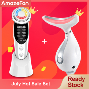 7in1RF&EMS lifting Beauty LED Photon Face Skin +3 Colors Led Facial Neck Massager Photon Therapy Heating Wrinkle Removal