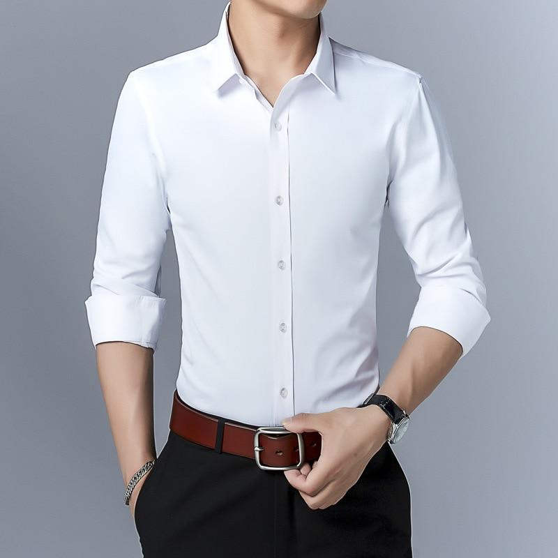2021 New Cotton Long Sleeve Shirt Solid Slim Fit Male Social Casual Business White Dress Shirt Men Brand Clothing 5XL 6XL 7XL