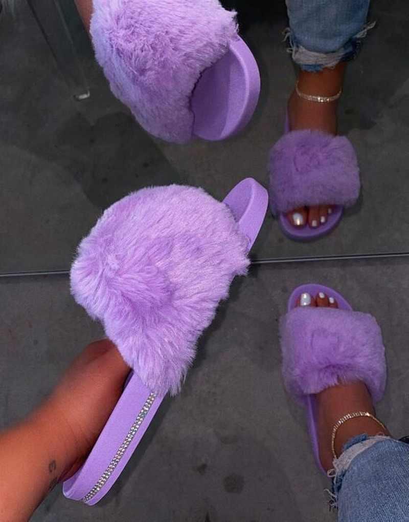 2020 frühling Herbst Neue Frauen Home Indoor Wilden Pelz Slides Flip Flop Warme Weiche Nicht-slip Hausschuhe Outdoor Strass strand Sandalen