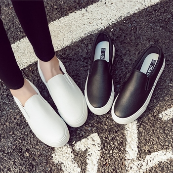 Women Sneakers Leather Shoes Spring Trend Casual Flats Female New Fashion Comfort Sli-on Platform Vulcanized