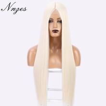 NNZES 24&30 Inches Synthetic Long Straight White Wig Middle Part Black Blonde Red Wig for Women Heat Resistant Fiber