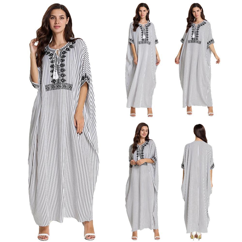 Oversize Women Short Sleeve Dress Embroidery Kaftan Farasha Abaya Casual Gown