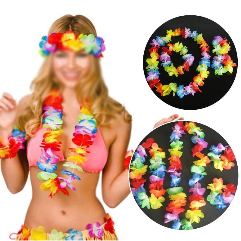4pcs Hawaii Christmas  Artificial Flowers Wreath Door Decoration Hawaiian Party Artificial Flower Garland Necklace DIY Decor