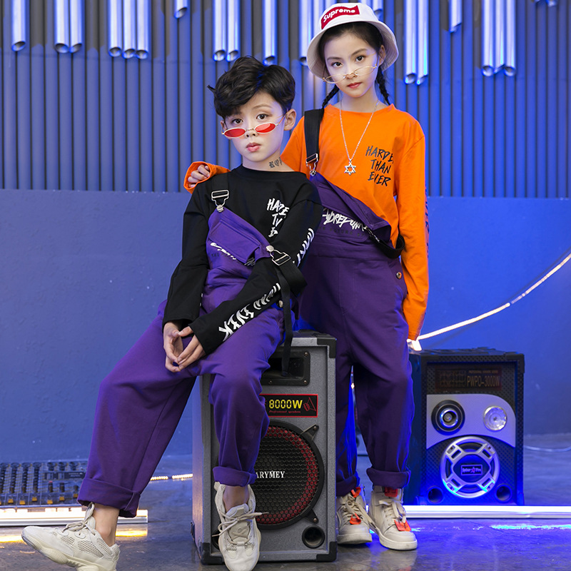 Girls Boys Hip Hop Dancing Costumes For Kids Jazz Costumes Party Ballroom Dance Clothes Stage Wear T Shirt Belt Pants Outfits