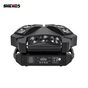 Image 1 - 새로운 도착 미니 LED 9x10W LED 스파이더 라이트 RGBW 16/48CH DMX 무대 조명 Dj LED 스파이더 이동 헤드 빔 빛