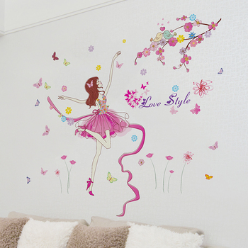 [shijuekongjian] Ballet Dancer Wall Sticker Cartoon Girl Dancing Wall Decor for Kids Room Baby Bedroom Nursery House Decoration