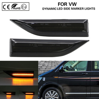2X Smoke Dynamic Flowing LED Side Marker Lamp turn signal light for VW T6 2015-