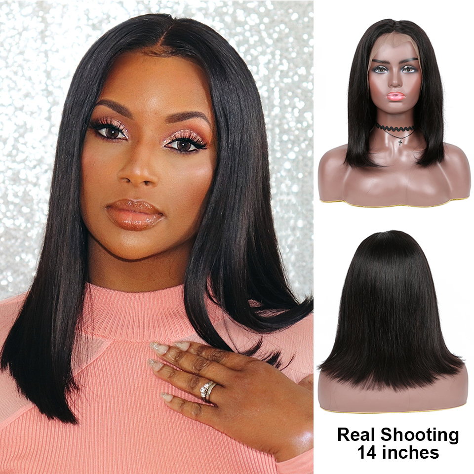Brazilian Human Hair Lace Bob Wig Straight Lace Human Hair Wigs Pre Plucked With Baby Hair For Black Women Non Lace Frontal Wigs