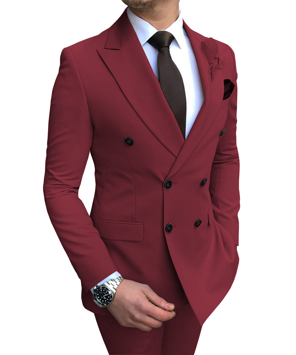 New Burgundy Men's Suit 2 Pieces Double-breasted Notch Lapel Flat Slim Fit Casual Tuxedos For Wedding(Blazer+Pants)