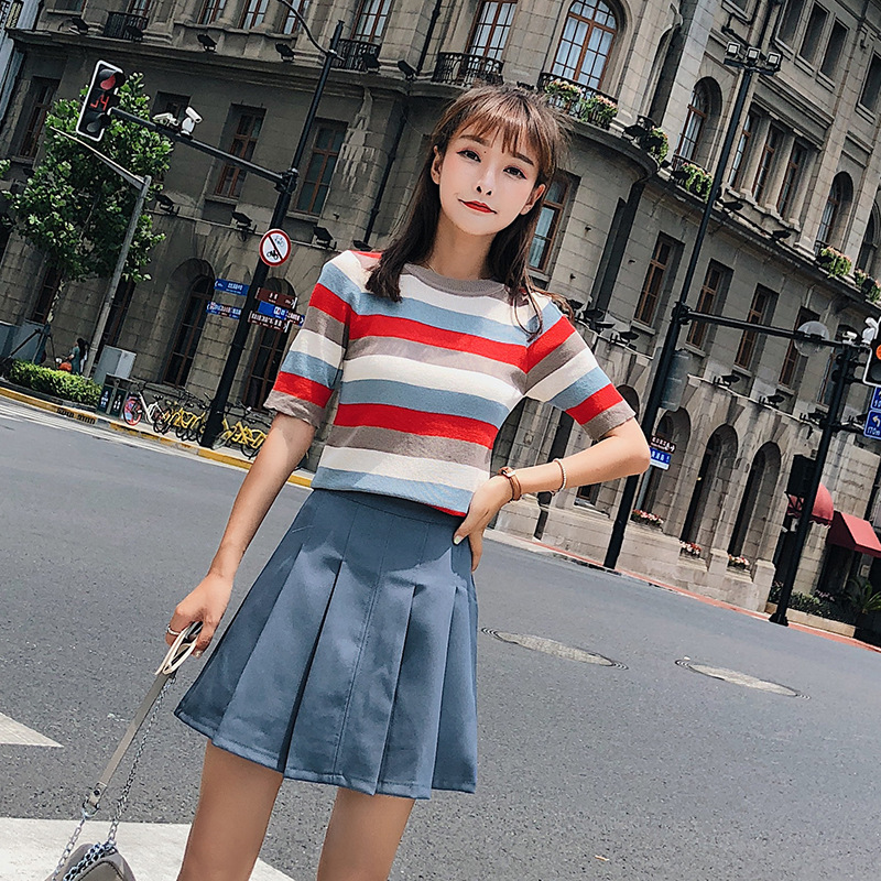 [Dowisi] WOMEN'S Suit 2018 Summer New Style Mori Girl Line Playful Slimming Short Skirt Two-Piece Set F5117