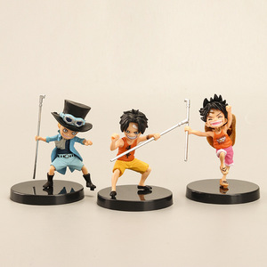 Image 2 - 3 pezzi/set anime artista infanzia Rufy Ace Saab tre fratelli bambola PVC collection modello giocattolo della decorazione della casa regalo di compleanno