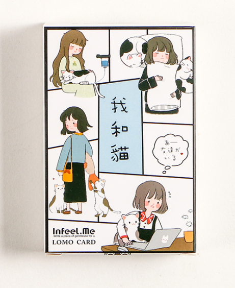 52mm*80mm Cat And Me Paper Greeting Card Lomo Card(1pack=28pieces)