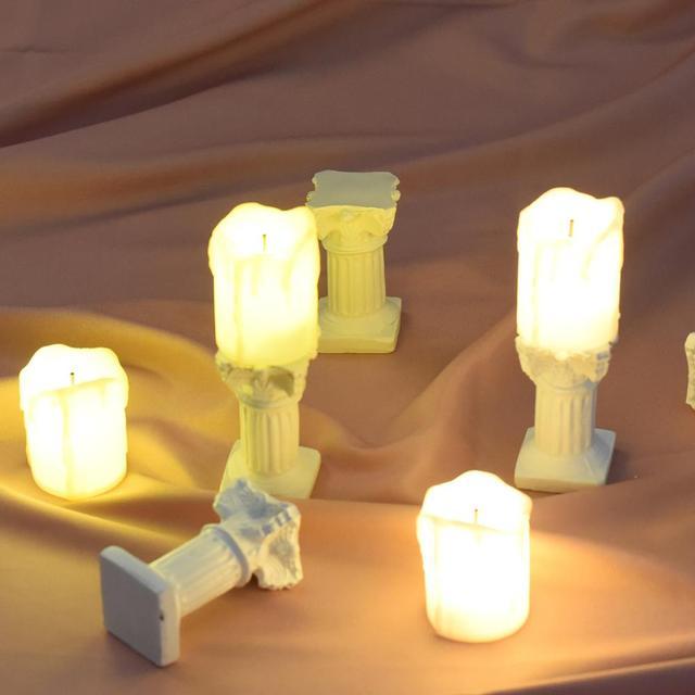 Mini Fotografie Artikelen Simulatie Romeinse Kolommen Gloeiende Elektronische Kaars Foto Achtergrond Decoratie Schieten Props Fotografia