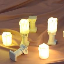 Mini fotoğraf ürünleri simülasyon roma sütunları parlayan elektronik mum fotoğraf arka plan dekorasyon çekim sahne Fotografia