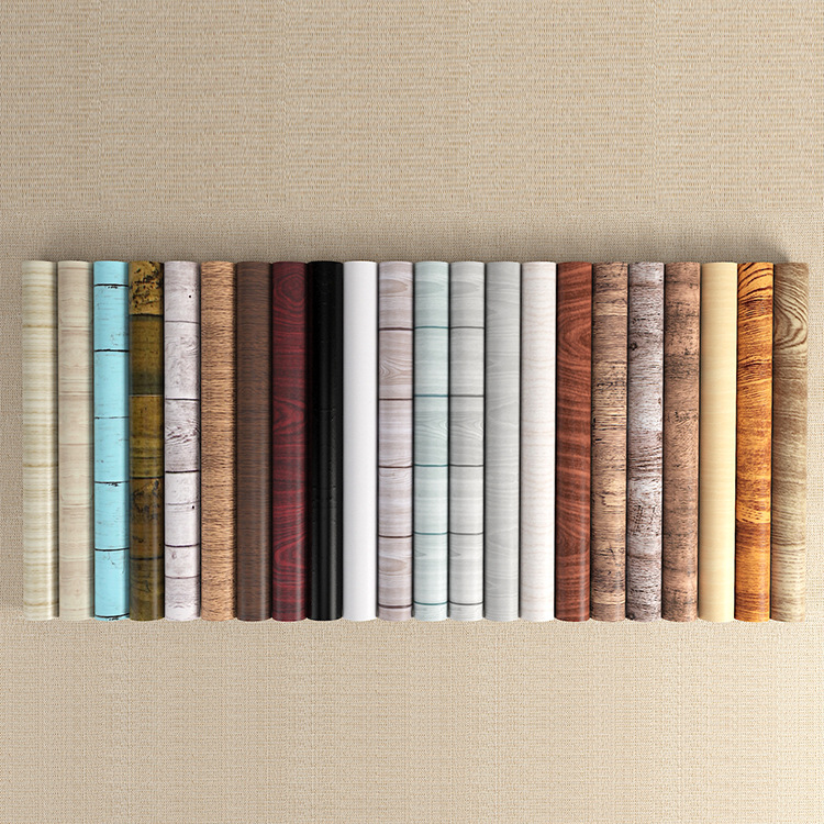 Waterproof Wood Vinyl Wallpaper Roll Self Adhesive Wall Paper Doors Cabinet Desktop Modern Furniture Decorative Wallpaper W43
