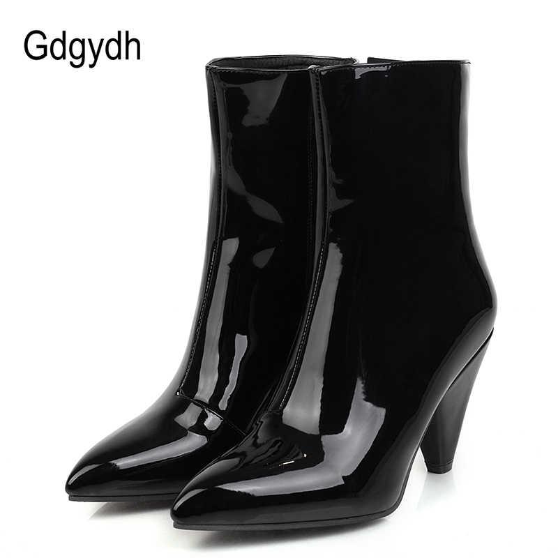 Gdgydh Patent deri kadın çizmeler Spike topuklu siyah düğün ayakkabı gelin beyaz sivri burun yarım çizmeler fermuar ile büyük boy 47