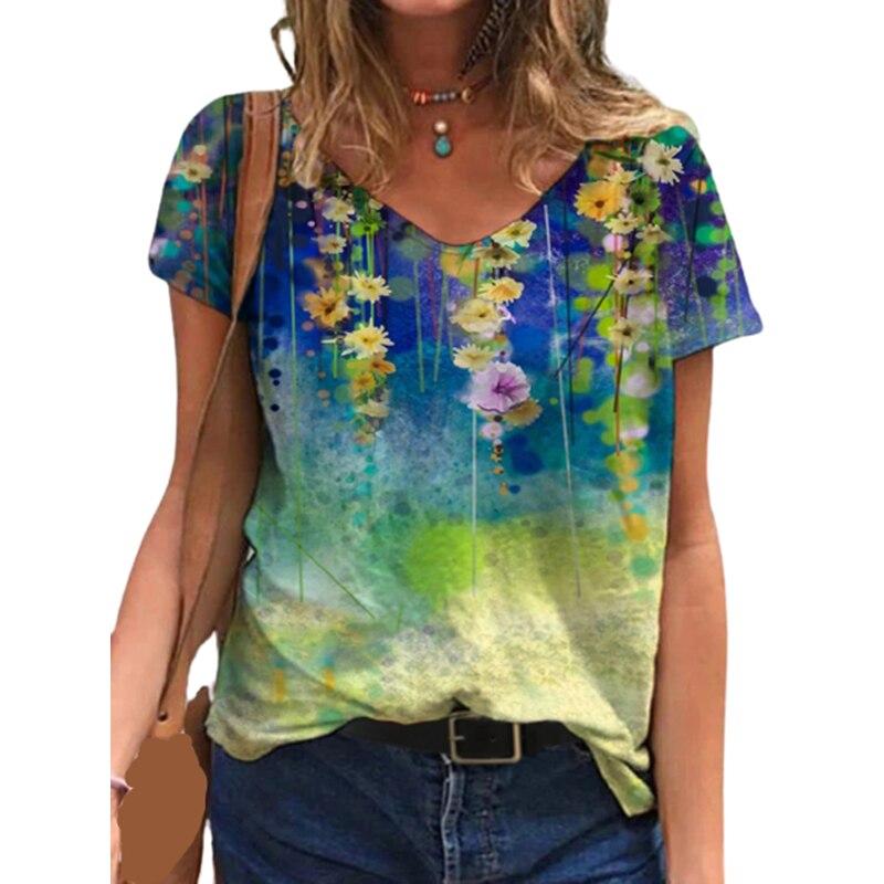 Lady Flower Short Sleeve Floral Printed Shirt