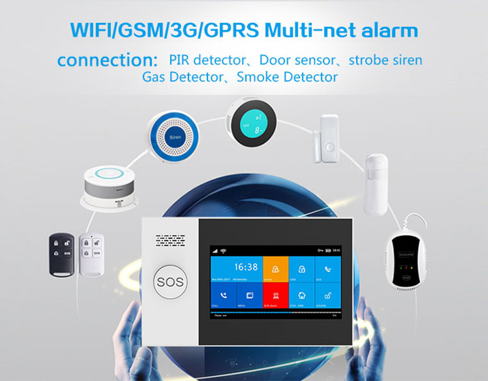 YS TUYA 433Mhz GSM wireless Burglar Home Security System 4.3 Inch Full Touch Screen Alarm Host With Accessories