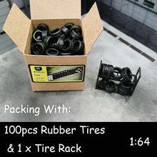 DIY 1/64 резиновые шины для автомобиля, аксессуары для Диона 100 шт./кор. резиновые шины, 3 Весы (1/64,1/43,1/32)