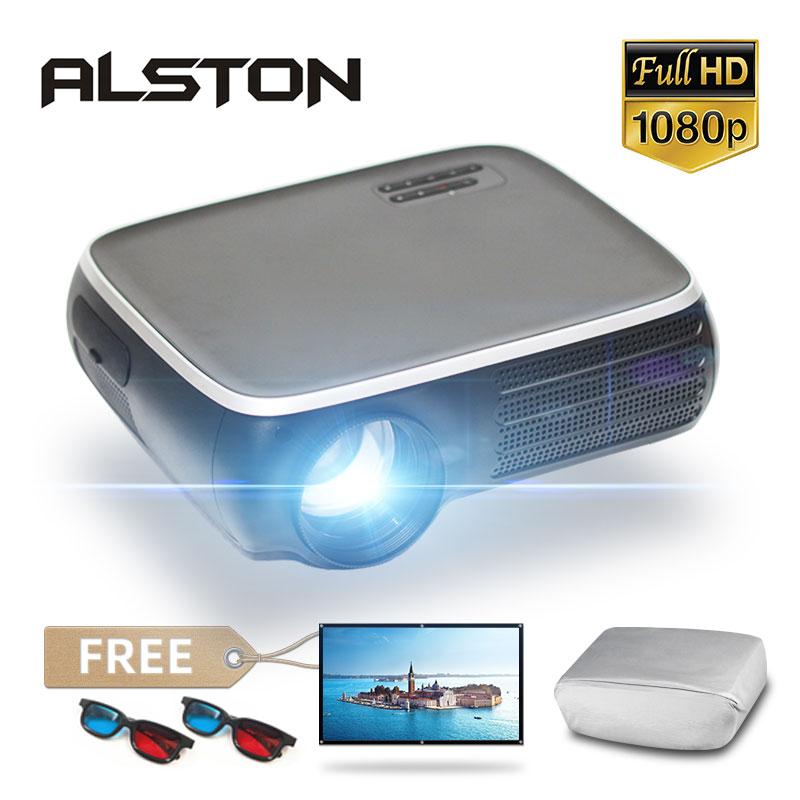 Alston m8s completo hd 1080p projetor 4k 7000 lumens cinema beamer android wifi bluetooth hdmi-compatível vga av usb com presente