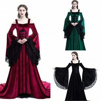 The Medieval Times Style Lace Strapless Temperament Dress Longuette Leisure fashion