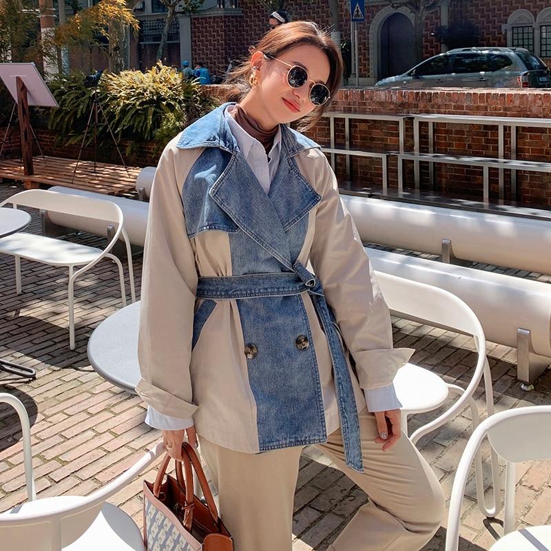 Women's Spring Autumn Denim Coat 2021 New Fashion Korean Stitching Trendy Cattle Casual Loose Women's Denim Jackets A47