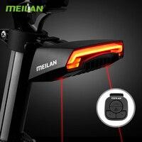 Meilan x5 versão luz de freio da bicicleta sem fio flash segurança volta traseira da bicicleta controle remoto sem fio girando luz laser
